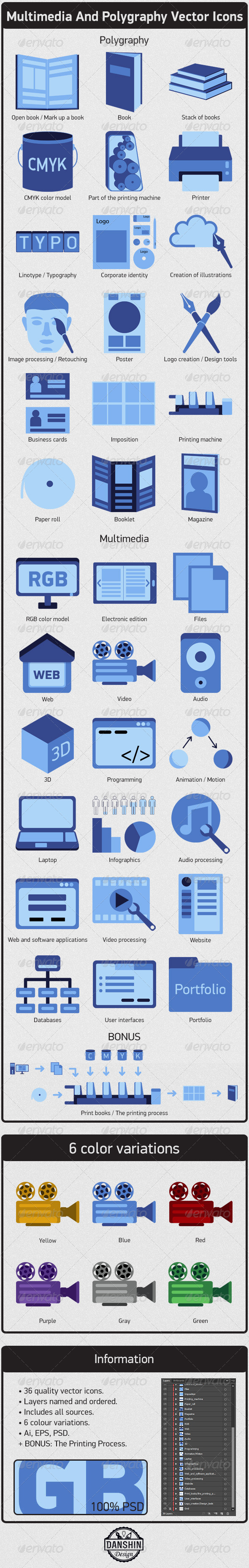 Multimedia And Polygraphy Vector Icons - Icons