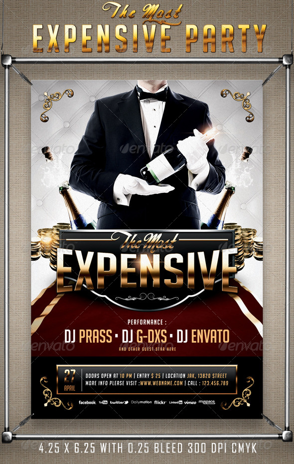 The Most Expensive Party Flyer Template - Flyers Print Templates