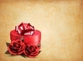 Retro background with beautiful red roses and gift box.  - PhotoDune Item for Sale