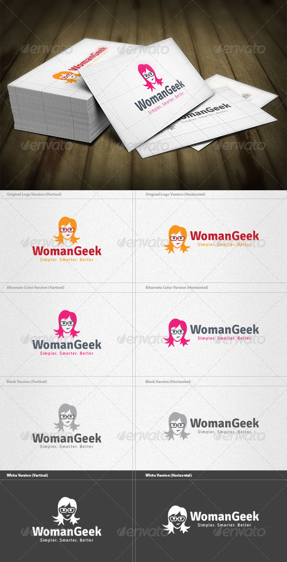 GraphicRiver Woman Geek Logo 4571208