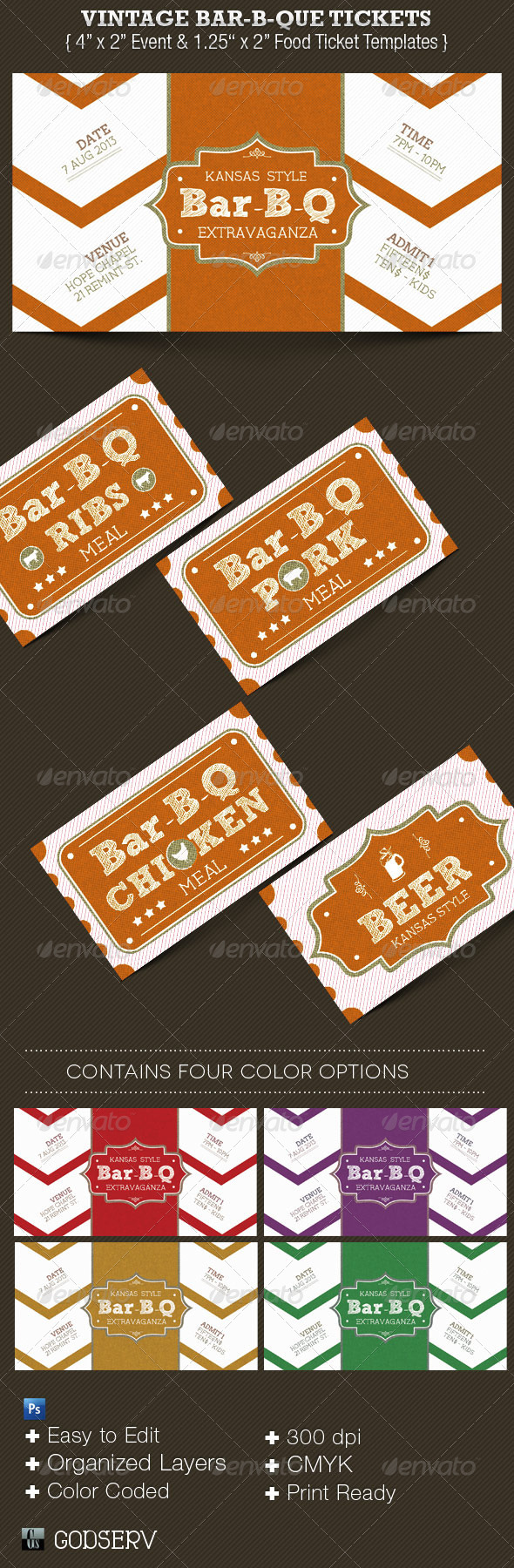 Vintage Bar-B-Que Ticket Template Set - Miscellaneous Print Templates
