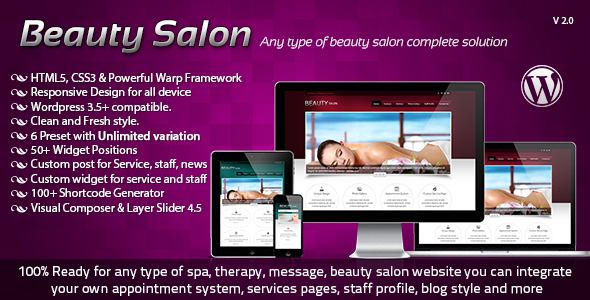 Beauty Salon Responsive Wordpress Template - Health & Beauty Retail