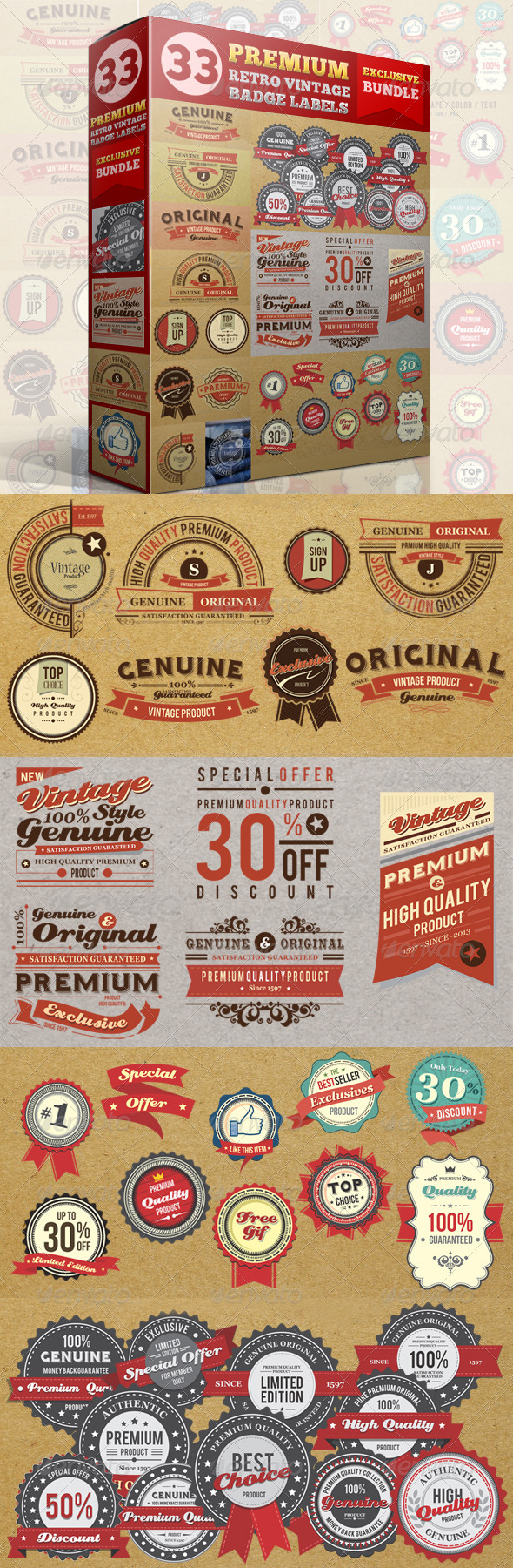 GraphicRiver Premium Retro Vintage Badge Label Bundle 4573381