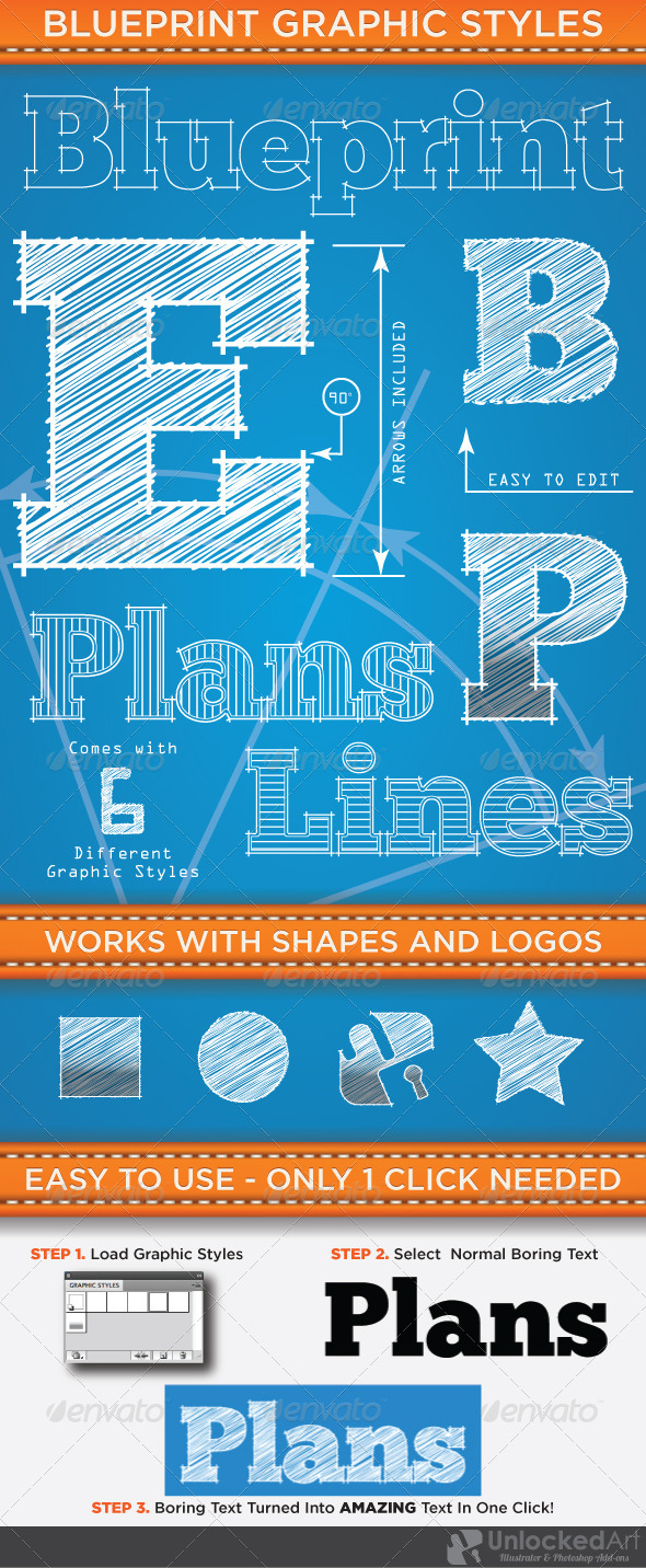 GraphicRiver Blueprint Graphic Styles 4573526