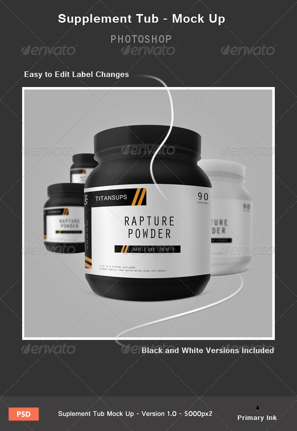 GraphicRiver Supplement Tub Mock up 4575034
