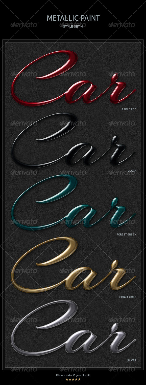 5 Metallic Paint Text Styles - Text Effects Styles
