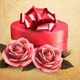 Retro Background with Beautiful Red Roses and Box - GraphicRiver Item for Sale