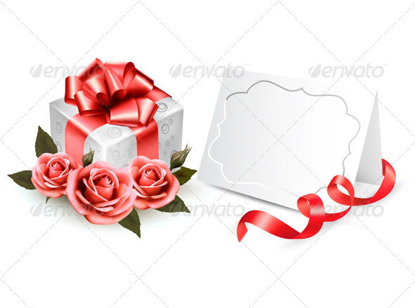 GraphicRiver Greeting Card with a Ribbon a Present and Roses 4575394