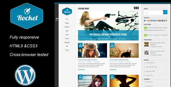 Rocket News is a Responsive Wordpress Magazine The - Blog / Magazine WordPress