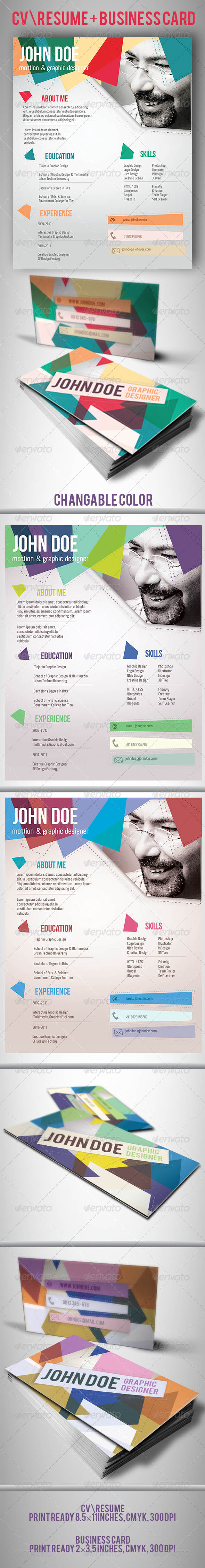 GraphicRiver CV Resume and Business Card Template 4577955