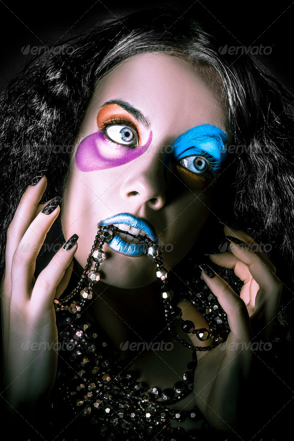 Alternative fashion model face. Bright makeup - Stock Photo - Images