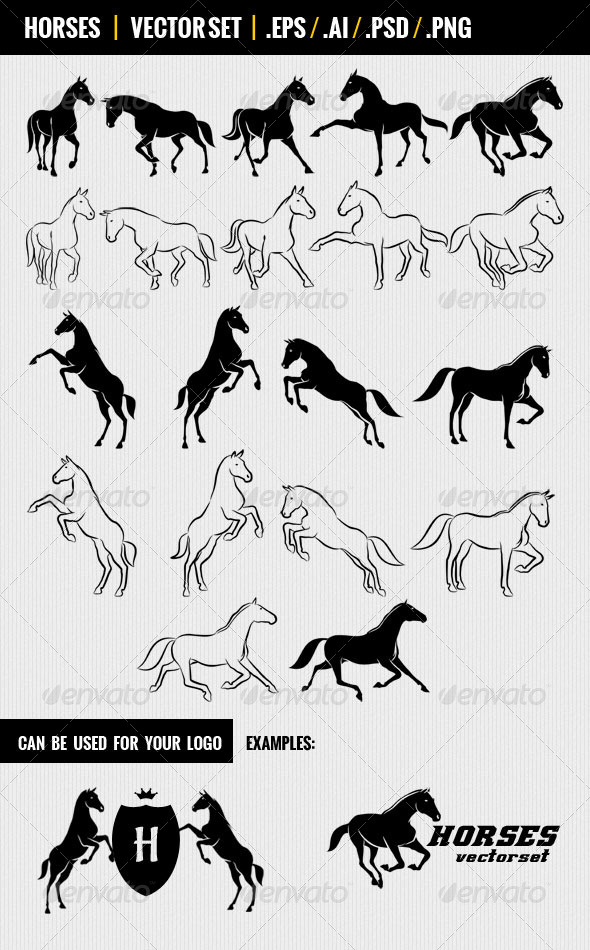 GraphicRiver Horses Vectorset 4579995