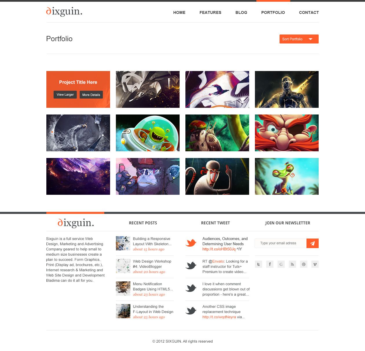 Sixguin - Modern PSD Template