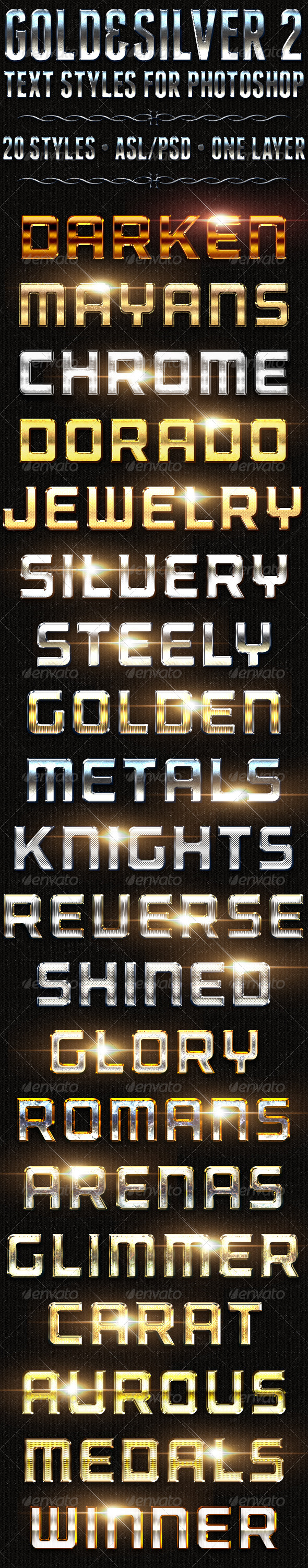 Gold & Silver 2 - Text Styles - Text Effects Actions