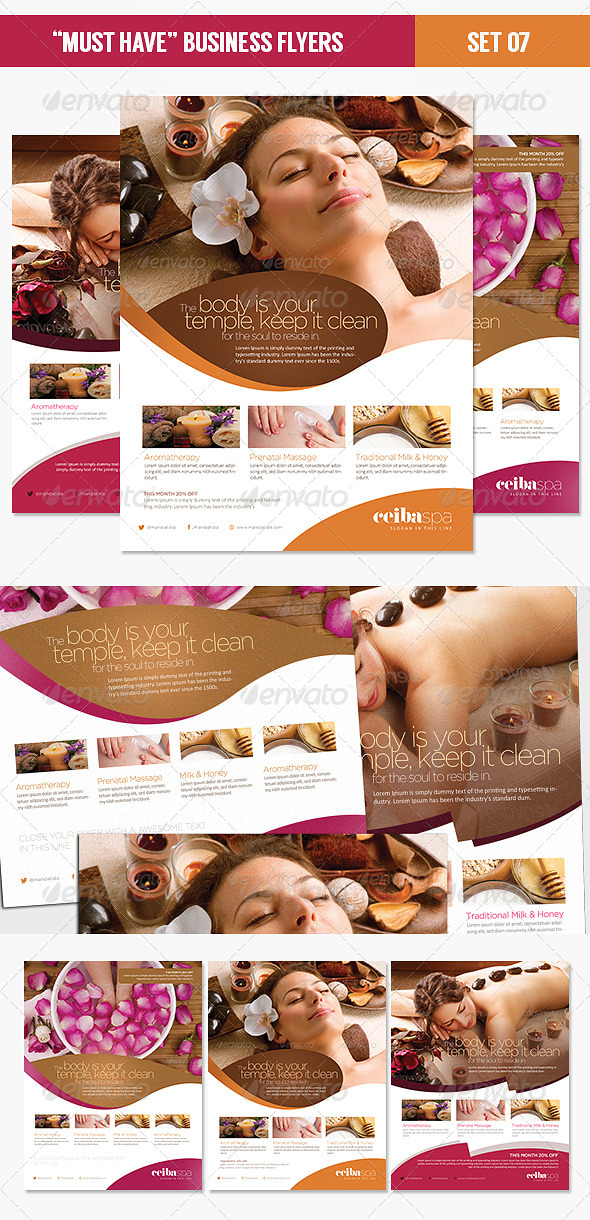 GraphicRiver Must Have Business Flyers Set 07 Beauty Spa 4491466