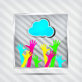 icon with happy hands and blue cloud on the striped background - PhotoDune Item for Sale