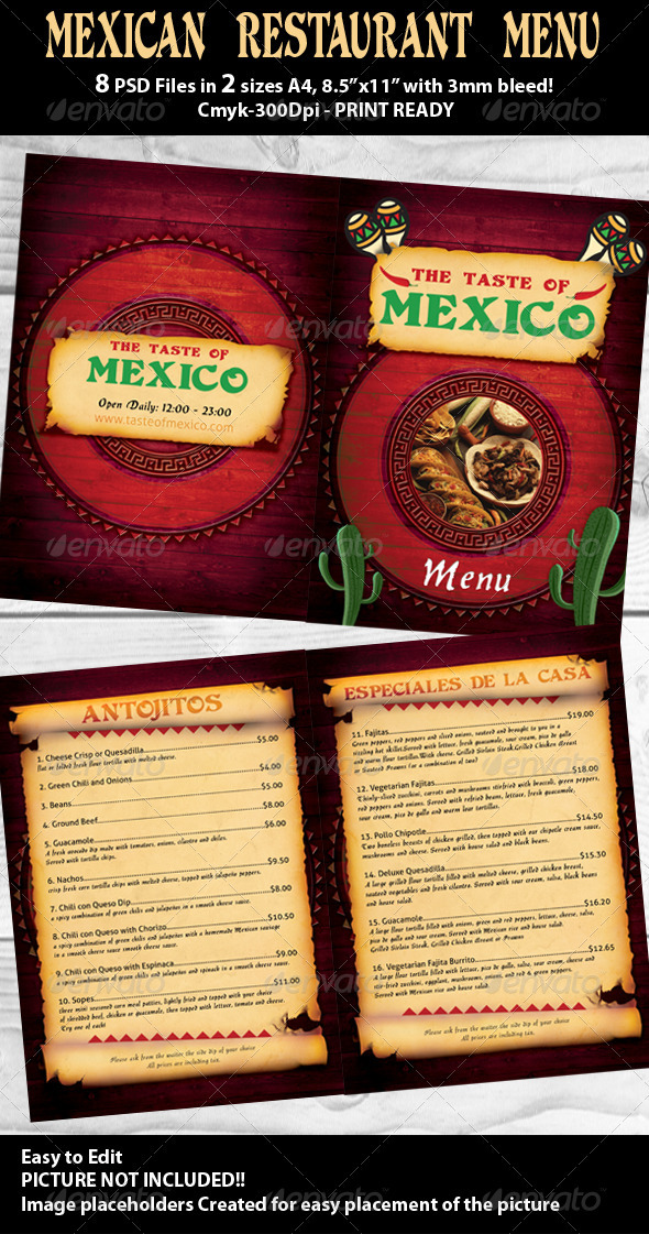 Mexican Restaurant Menu PSD Template - Food Menus Print Templates
