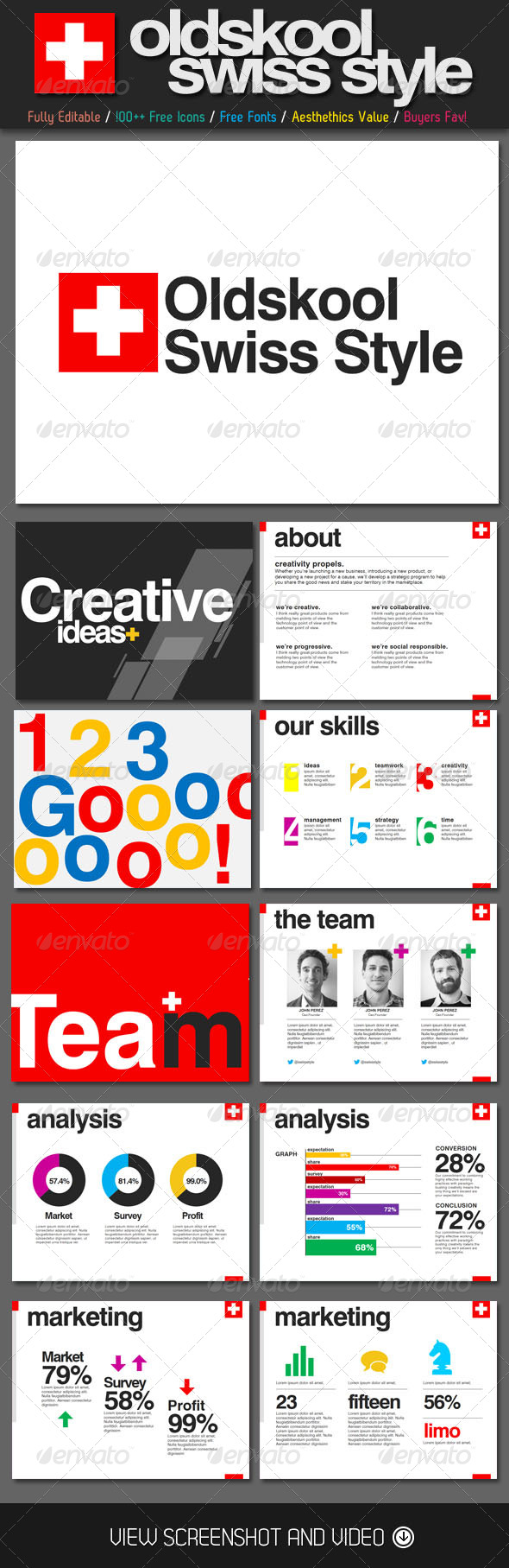 GraphicRiver Oldskool Swiss Style PowerPoint Template 4583565