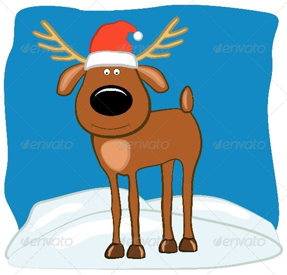 GraphicRiver Christmas Deer in a Santa Hat 4583583