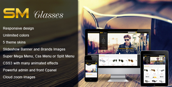 SM Glasses Responsive Magento Theme - Shopping Magento