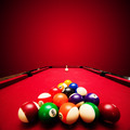Billards pool game. Color balls in triangle, aiming at cue ball - PhotoDune Item for Sale