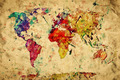 Vintage world map. Colorful paint, watercolor on grunge, old pap - PhotoDune Item for Sale