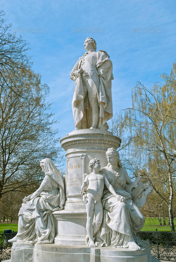 Monument of Johann Wolfgang von Goethe in Berlin - Stock Photo - Images