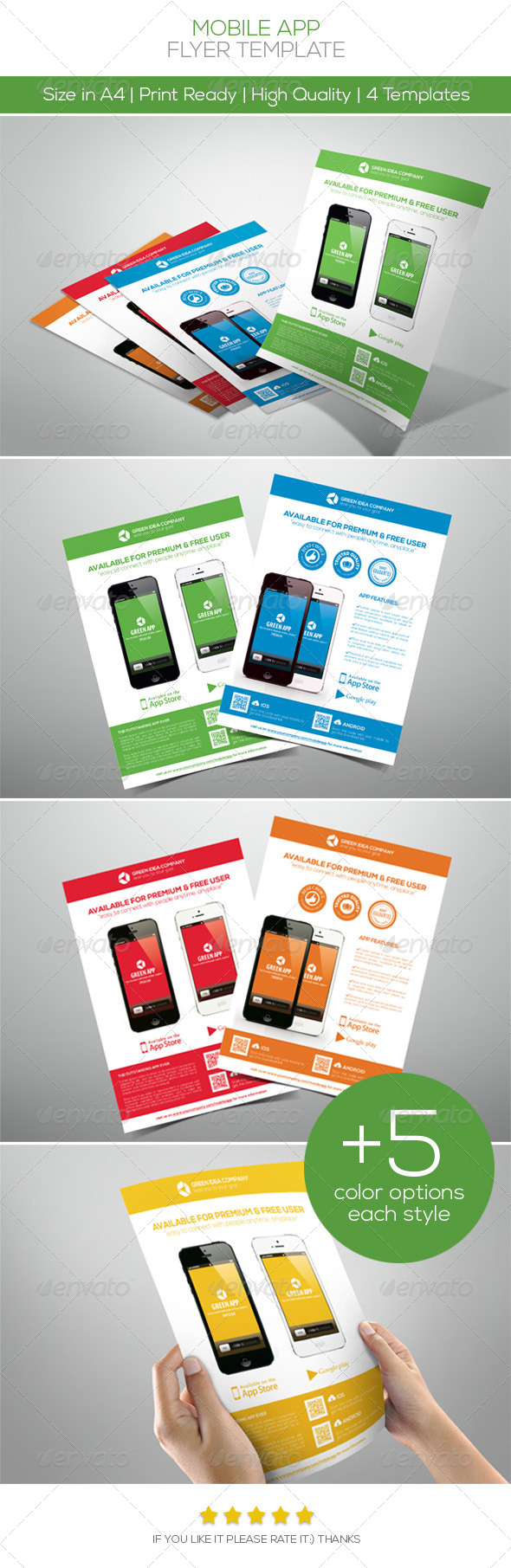 5 Color Promotion Mobile App Flyers - Commerce Flyers