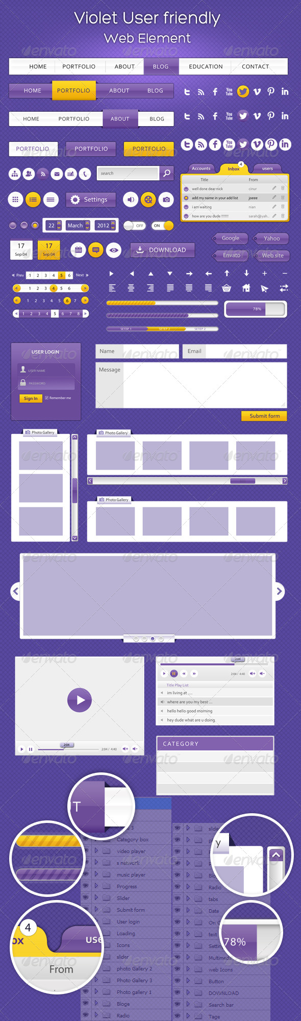 GraphicRiver Violet User Friendly Web Element 4564117