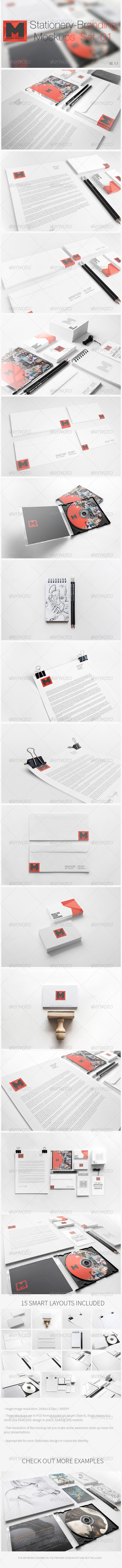 Stationery - Branding Mockups - Set 01 - Print Product Mock-Ups