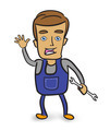 Cartoon mechanic holding a wrench. - PhotoDune Item for Sale