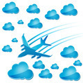 silhouette of airplane in the air with blue clouds - PhotoDune Item for Sale