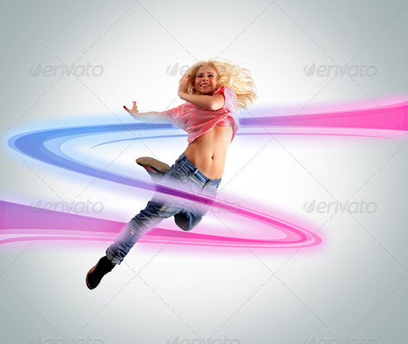 Young woman dancing - Stock Photo - Images