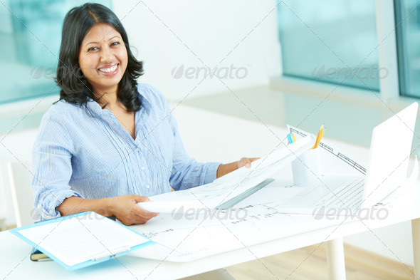 Female with sketches - Stock Photo - Images