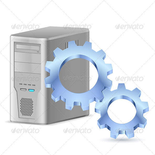 GraphicRiver Gearwheel with Computer 4591894
