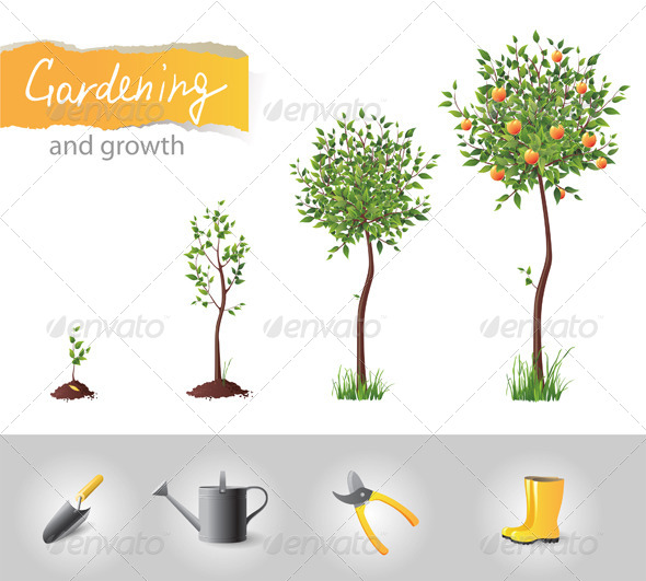 GraphicRiver Gardening and Growing Tree 4592190