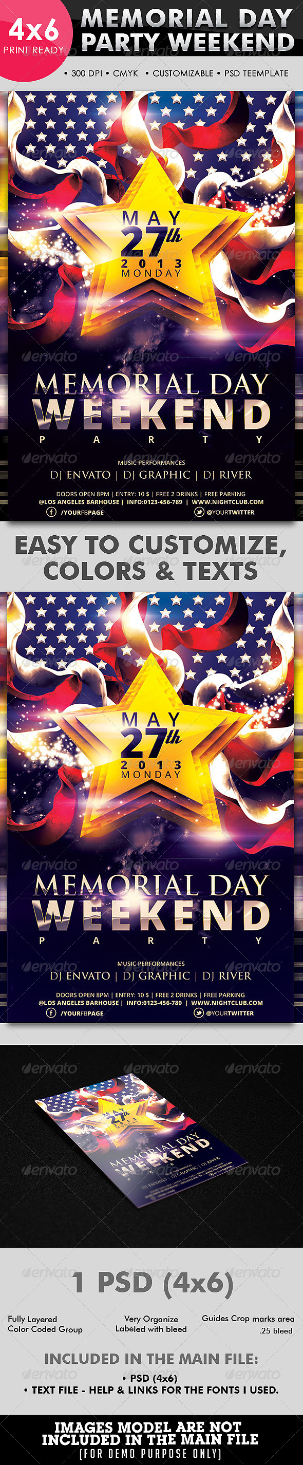 Memorial Day Weekend Party Flyer Template - Events Flyers