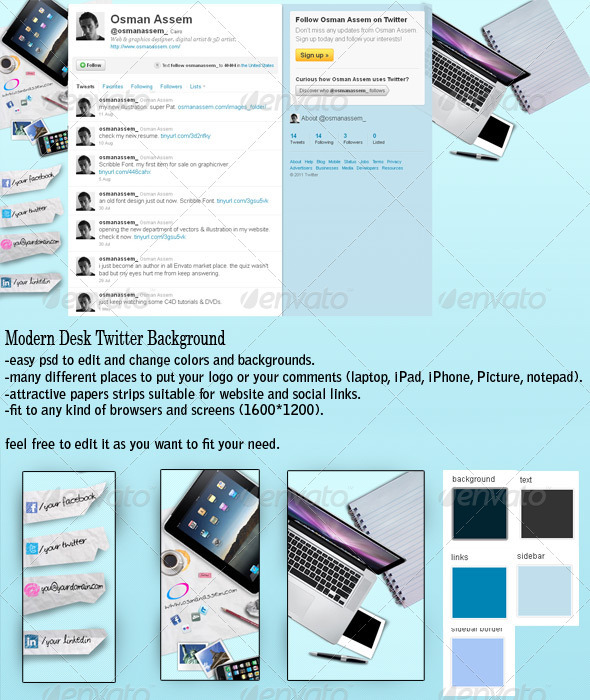 Modern Desk Twitter Background - GraphicRiver Item for Sale