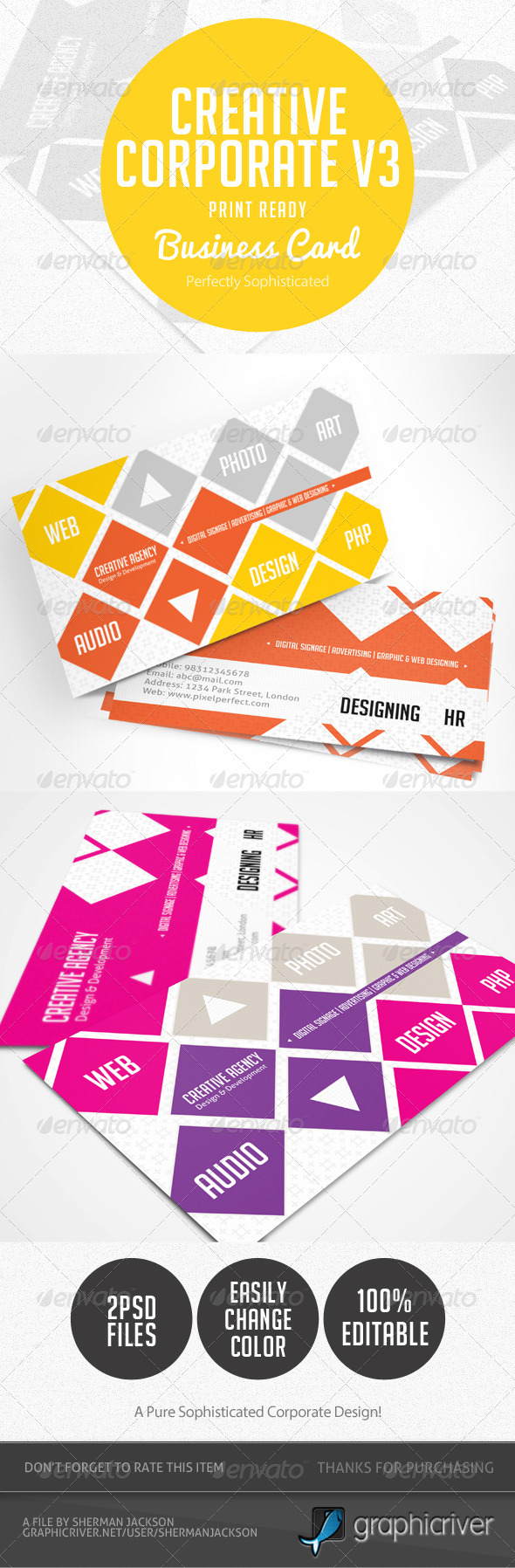 Creative Corporate Business Card V.3 - Business Cards Print Templates