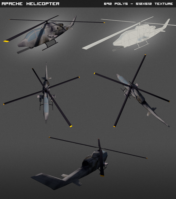 3DOcean Apache Helicopter lowpoly 4595798