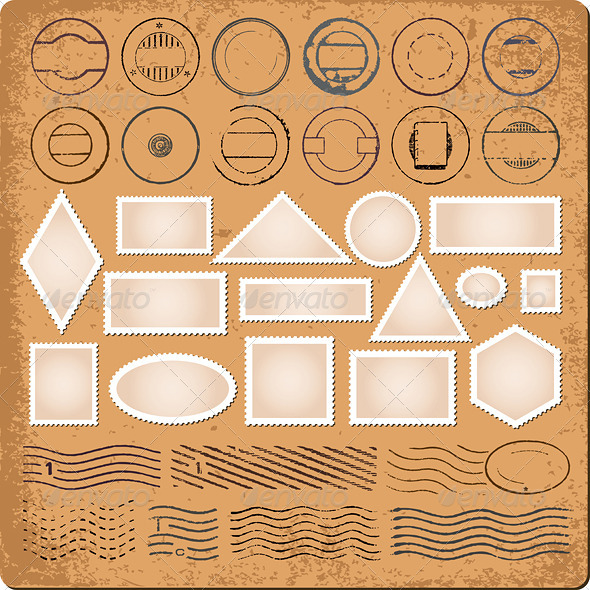 GraphicRiver Blank Borders and Grunge Rubber Stamps Vector 4596100