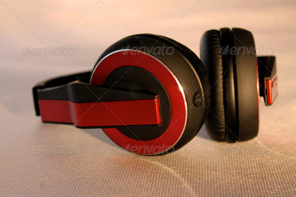 Red Headphones - Stock Photo - Images