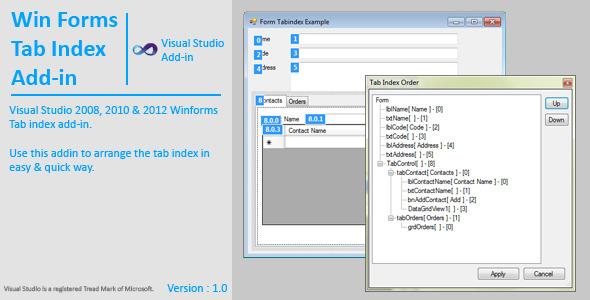 WinForms Tab Index AddIn (Add-ons) | CodeCanyon