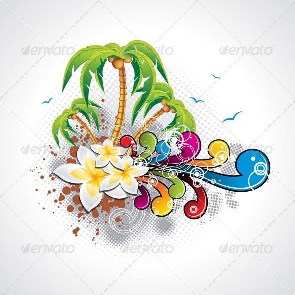 GraphicRiver Vector Summer Holiday Design with Palm Trees 4597676