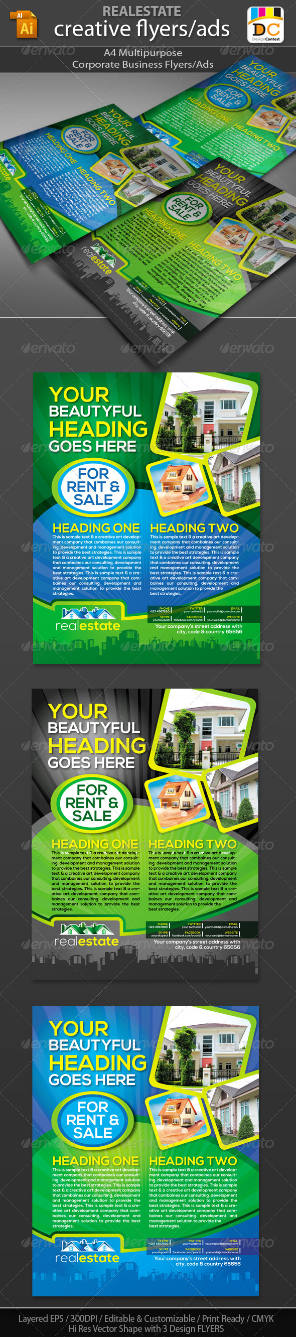 GraphicRiver Real Estate Corporate Business Flyers Adds 4597710