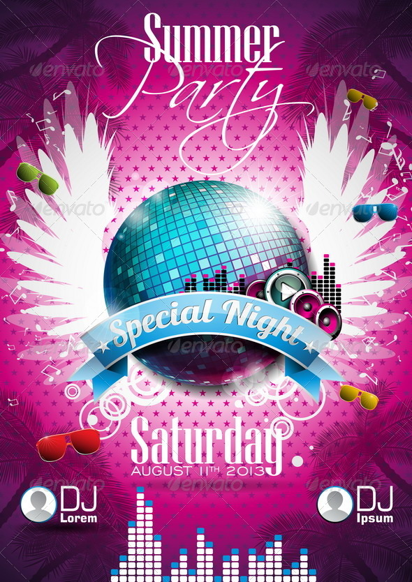 GraphicRiver Vector Summer Beach Party Flyer Design with Disco 4597834