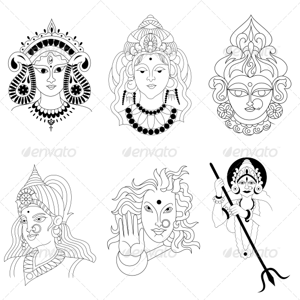 hindu goddess religious vector designs pack graphicriver. Black Bedroom Furniture Sets. Home Design Ideas