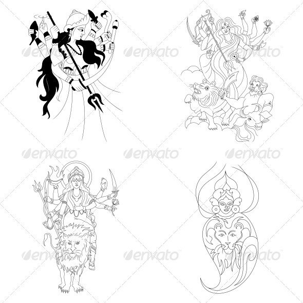GraphicRiver Hindu Goddess Durga Religious Vector Designs Pack 4598560