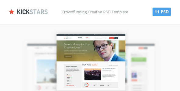 ThemeForest Kickstars Crowdfunding PSD Template 4598960