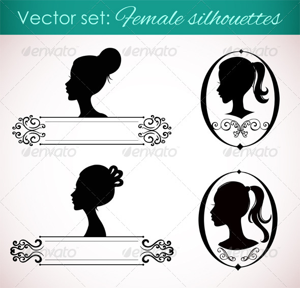GraphicRiver Set of Female Silhouettes in Retro Style 4599759